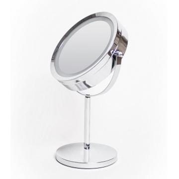 Зеркало косметическое настольное, нержавеющая сталь, с подсветкой LED, диаметр 15 см, 0403-15LED
