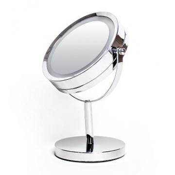 Зеркало косметическое настольное, нержавеющая сталь, с подсветкой LED, диаметр 17 см, 0603-17LED