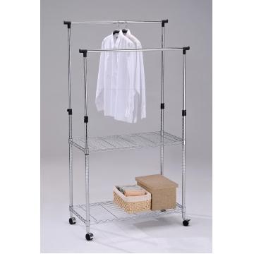 Стойка для одежды стеллаж напольный передвижной 4444
