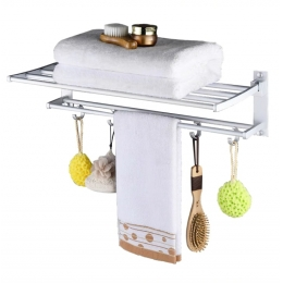 Полка алюминиевая с полотенцедержателем для ванной