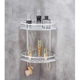 Полка алюминиевая в ванную угловая навесная двухъярусная