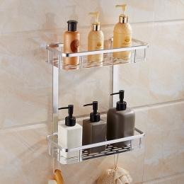 Полка алюминиевая 2-х ярусная прямоугольная в ванную