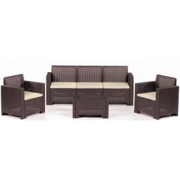 Комплект мебели из искусственного ротанга коричневый ALABAMA-3