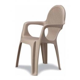 Кресло пластиковое Intrecciato серо-бежевое