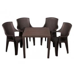 Комплект пластиковой мебели King Eden 4 коричневый