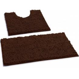 Набор ковриков для ванной и туалета тёмно-коричневый