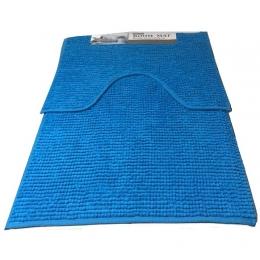 Набор ковриков для ванной и туалета Room mat microfiber голубой